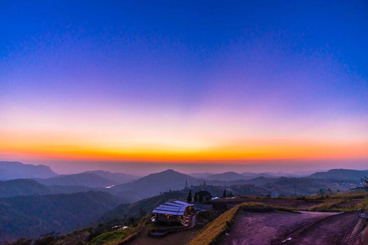 morning City Mountain Sunset Illuminated Fog Urban Skyline Forest Mountain Peak Road