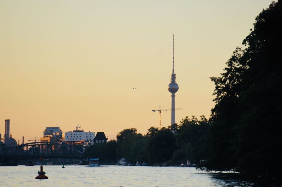 Berlin Sunset Sunset Berlin TV Tower TV Tower Berlinbeauty Spree Architecture Sky Built Structure Building Exterior Tower Communication City Water Tree Tall - High No People Clear Sky Travel Destinations Travel
