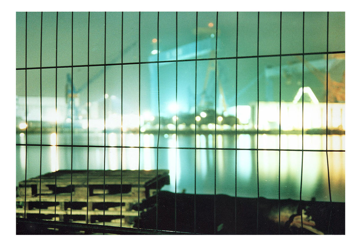 Analogue Photography Architecture Building Exterior Built Structure Fence Harbour HDW Kiel Kieler Förde Night Nightshot No People Reflection Shipyard Water Reflections Waterfront Werft Wintertime