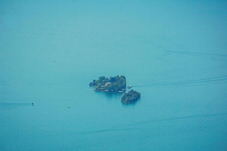 Close-up of the brissago islands in the lago maggiore lake, switzerland
