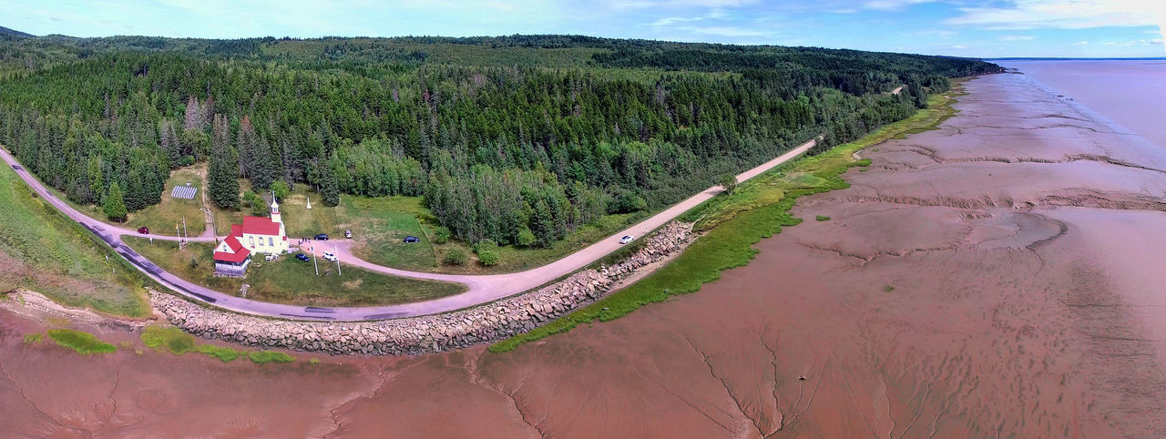 Aerial View Bay Of Fundy Beaumont Beauty In Nature Church Drone Photography Landscape Mud Flats Nature New Brunswick, Canada Outdoors Panorama Scenics