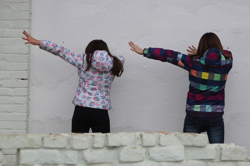 Arms Raised Cheerful Dab Dancing Friendship Fun Girls Happiness Happy Multi Colored People Togetherness Two People White Wall Day BYOPaper! Summer Game Coreography