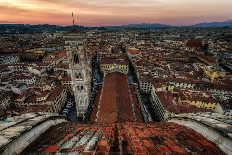Duomo Di Firenze Architecture Building Building Exterior Built Structure City Cityscape Crowd Crowded Florence High Angle View History Outdoors Place Of Worship Religion Sky Spire  Sunset Tourism Travel Travel Destinations