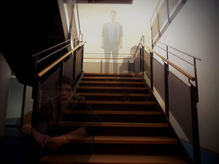 Cut And Paste Portrait Shadow Light And Shadow Dark Staircase People Watch Calm Man Indoors  Manipulationphotography Manipulation Exposure Hand Rail Photography Time Steps Stages The Portraitist - 2018 EyeEm Awards The Creative - 2018 EyeEm Awards