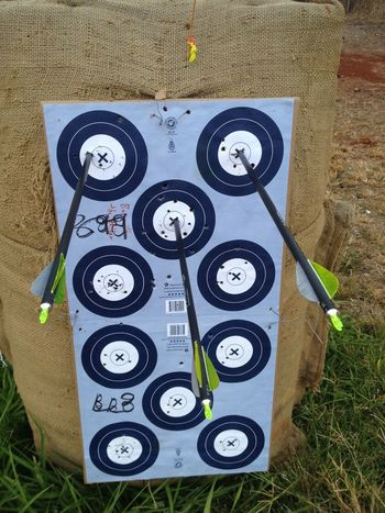 my shots did well on the 20 yards n that's second to the last round with three x's