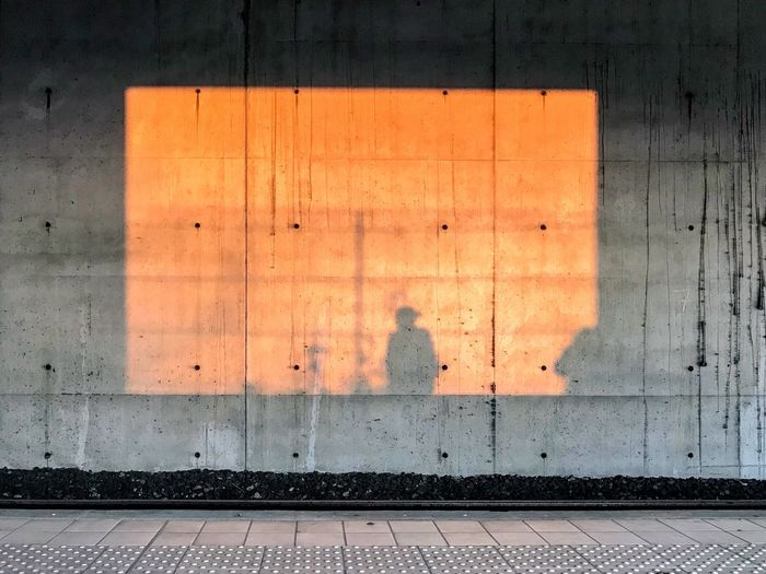 Morning traveller's shadow Ile De France Suburb Massy Wall Train Station Morning Light Light Morning Moment Shadow Backgrounds Day Indoors  No People