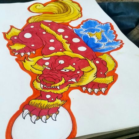 Foo Dog watercolor painting. Practice makes perfect. Shishi Foo Dog Watercolor Painting Traditional Practice Ink Tattoo Japanese