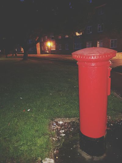Night Grass Red Illuminated Outdoors Green Color No People Tree Sky Red Post Box Post Box