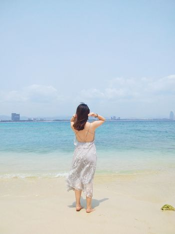 Water Young Women Sea Beach Full Length Women Human Back Back Standing Beauty