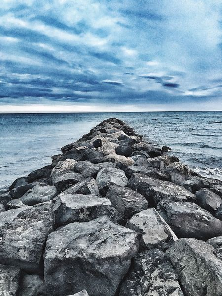 Sea Water Horizon Over Water Sky Rock - Object Nature Tranquil Scene Beauty In Nature Cloud - Sky Tranquility Scenics Beach Outdoors No People Day Groyne Pebble Beach EyeEm Best Shots EyeEm Nature Lover The Week On EyeEm
