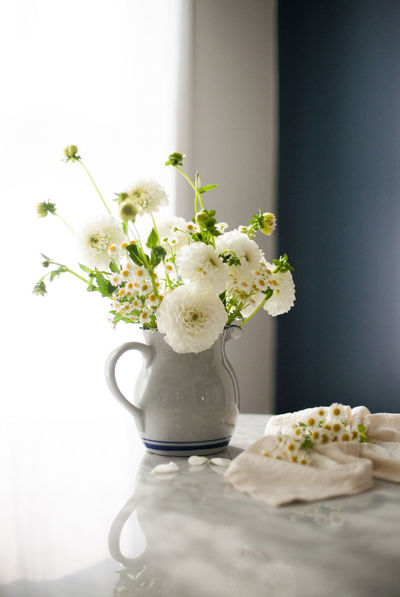 Chamomile Dahlia Lifestyle Close-up Day Feverfew Floral Flower Flower Collection Freshness Indoors  Marble No People Table Vase White Flower First Eyeem Photo