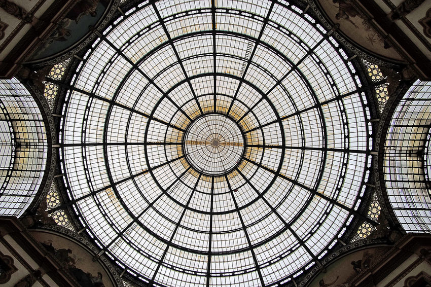 Galleria Vittorio Emanuele Historical Building Milan Milan,Italy Milano Architectural Feature Architecture Built Structure Concentric Cupola Geometric Shape Indoors  Italy Low Angle View Milanocity Modern No People Pattern Roof Skylight Travel Destinations