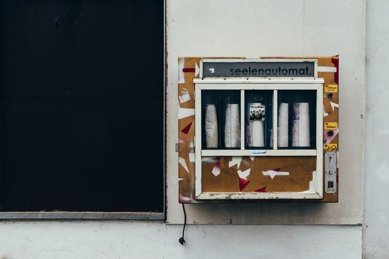 Vending machine on shop wall