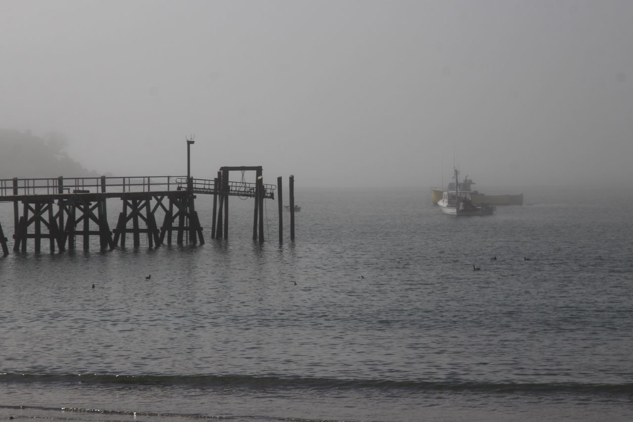water, sea, sky, waterfront, architecture, fog, scenics - nature, horizon, transportation, nature, horizon over water, nautical vessel, built structure, tranquil scene, no people, pier, tranquility, mode of transportation, outdoors
