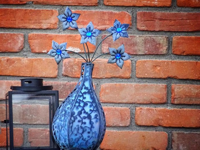 Check This Out From Mypointofview EyeEm Best Shots Eyemphotography EyeEm Best Edits Red Brick Wall Blue Vase And Flowers