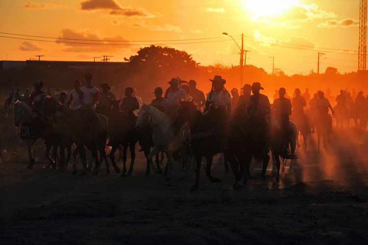 Group of people riding horses on road against sky during sunset