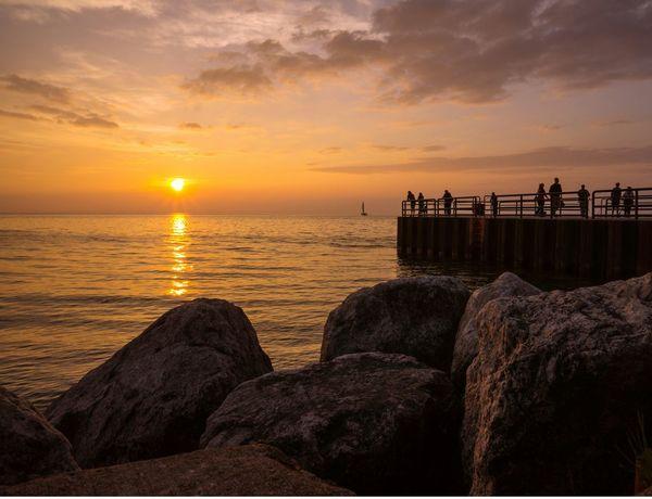 Sunset observers Sunset Charlevoix Beautiful Sunset Scenic, Charlevoix Lake Michigan On The Beach BeachEnjoying The Sunset Sunset Lovers Sunset Silhouettes Sunset View. Great Lakes Lake Michigan Fine Art Photography