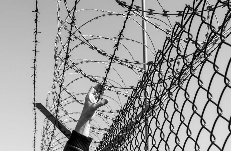 Barbed Wire Barbwire Barbwire Fence Barrier Boundary Breakout Built Structure Chainlink Fence Day Escape Fence Leisure Activity Low Angle View Metal Nature No People Outdoors Protection Safety Security Sign Sky Visual Creativity The Photojournalist - 2018 EyeEm Awards A New Perspective On Life