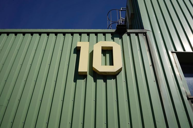 Number 10 No People Day Built Structure Architecture Nature Low Angle View Outdoors Building Exterior Sunlight Technology Sky Pattern Blue Sign Shadow