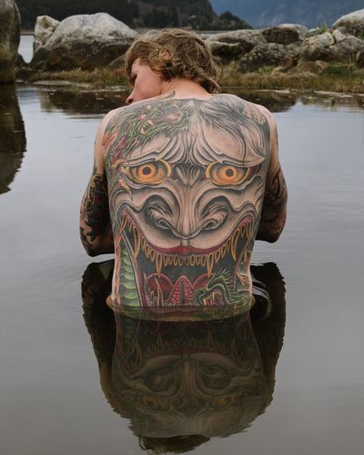 Tattoo Life Mikkel Bang sits for a tattoo portrait while traveling through Haines, Alaska