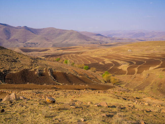 Mountain Africa Mountain Range Lesotho Field Agriculture Arid Arid Landscape
