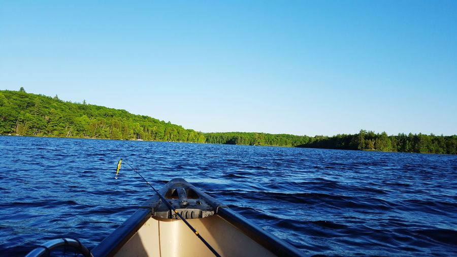 Low Angle View Of Lake Surface And Boat's Bow, Blue Water And Sky