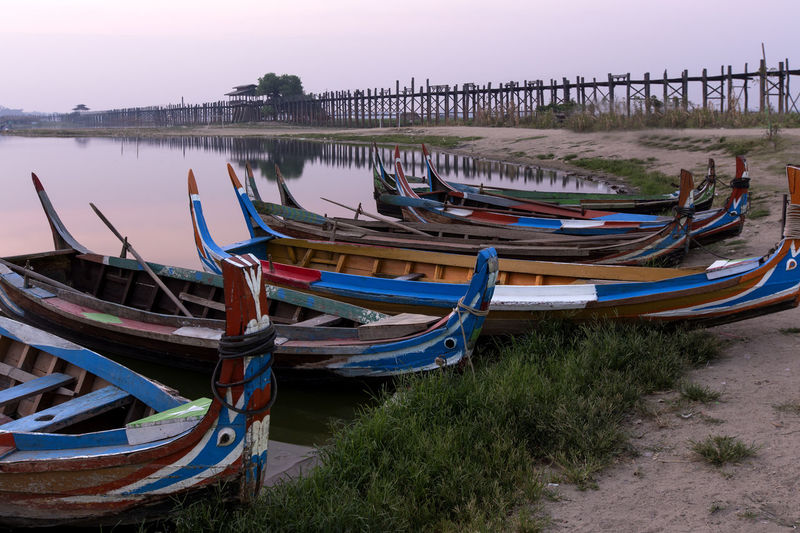 Beauty In Nature Blue Boat Burma Day Grass Idyllic In A Row Mode Of Transport Myanmar Nature Nautical Vessel No People Outdoors Scenics Side By Side Sky Tranquil Scene Tranquility Ubeinbridge Water