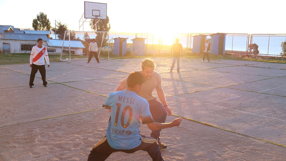 Casual Clothing Day Football Fun Lake Titicaca Peru Sport Sunset Village