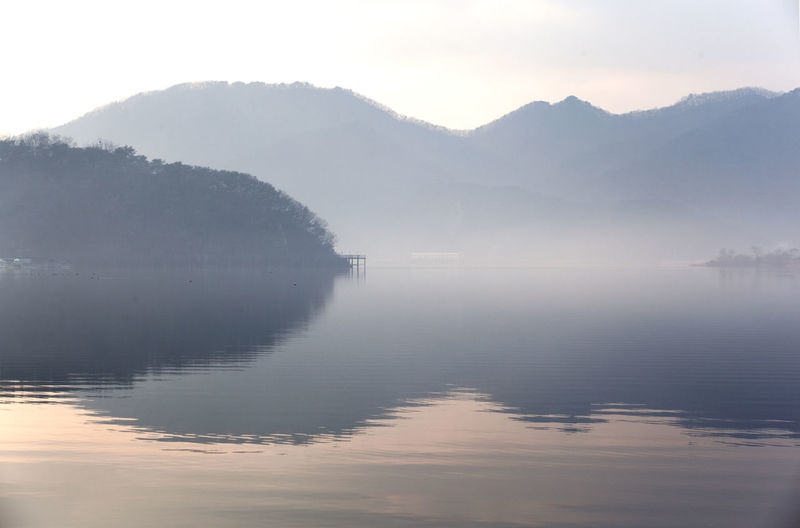 View of misty lake