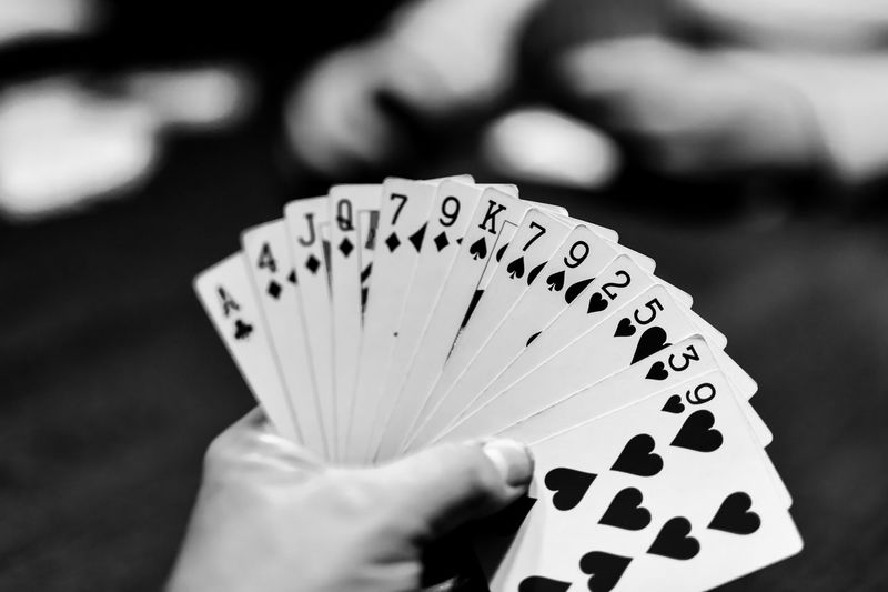 Close-up of hand holding cards