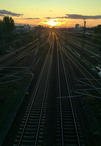 Sunset Transportation Railroad Track Sky Rail Transportation No People Outdoors Nature Tree Beauty In Nature Day Railroad Track High Angle View Sunlight From The Archives