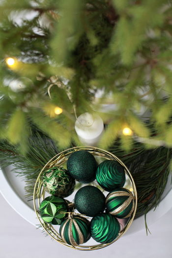 Close-up of christmas decoration with tree
