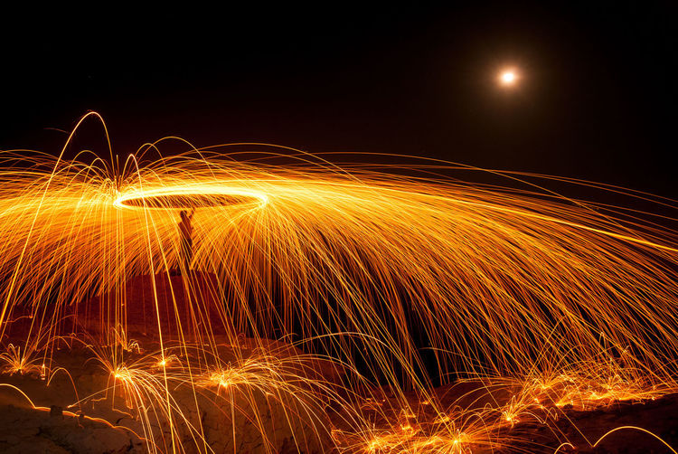 Steel Wool in Indonesia Motion Night Illuminated Blurred Motion Long Exposure Spinning Wire Wool Nature Sparks Orange Color Glowing Burning Speed Shape Warning Sign No People Communication Sign Outdoors Arts Culture And Entertainment Abstract New Year's Eve