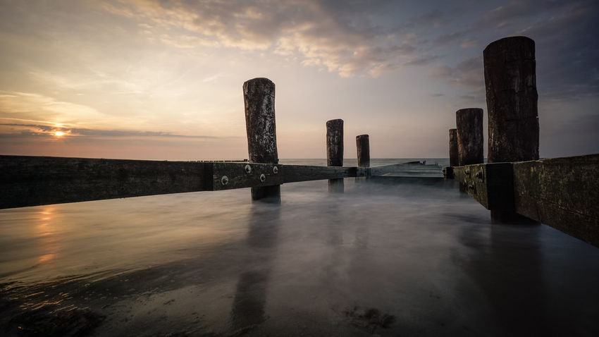Ostsee Sunset_collection Architectural Column Architecture Beauty In Nature Built Structure Cloud - Sky Horizon Idyllic Kühlungsborn Land Nature No People Post Reflection Scenics - Nature Sea Sky Sunset Tranquil Scene Tranquility Water Waterfront Wooden Post