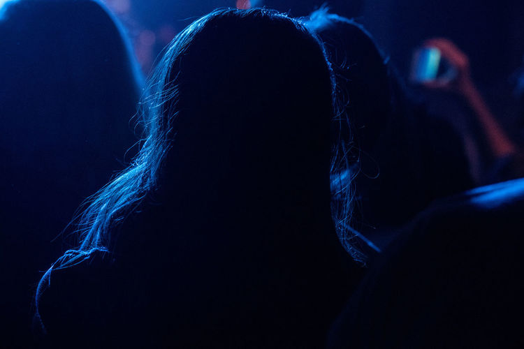 Silhouette Woman At Music Concert