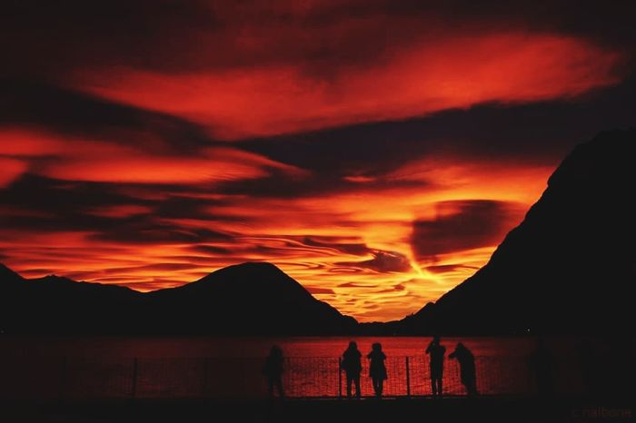 Lugano Lake😍😍😍 Silhouette Dramatic Sky Sunset Vacations Travel Destinations Landscape Outdoors Mountain Sky Nature Beauty In Nature Night People Adult Beauty In Nature Italy