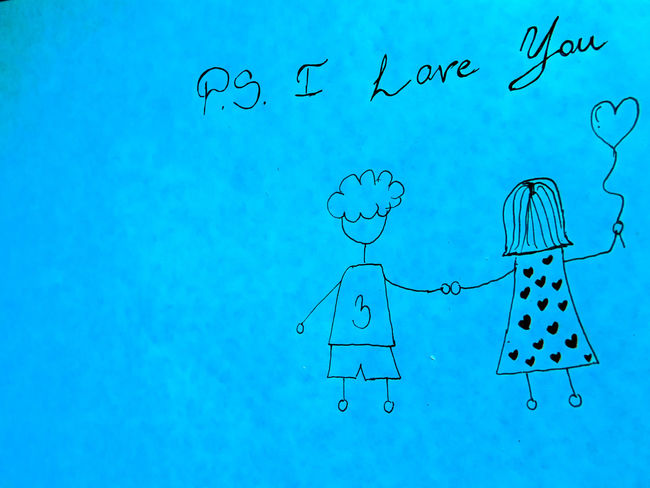 PS I LOVE YOU Couple EyeEmNewHere Holding Hands Love Ps I Love You Relationship Young Blue Close-up Cute Day Handmade In Love No People Outdoors Ps Sky