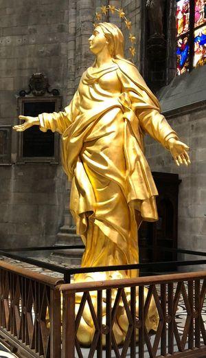 Duomo Di Milano. La Madonnina Sculpture Human Representation Architecture Statue Gold Colored Representation Art And Craft