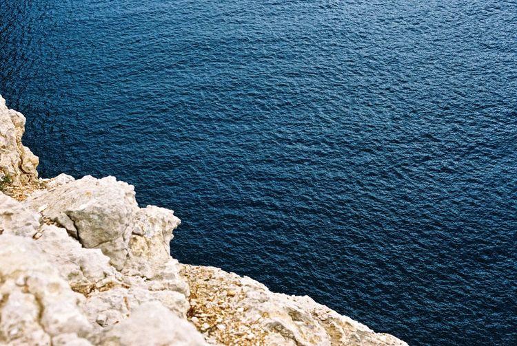 Close-up high angle view of sea