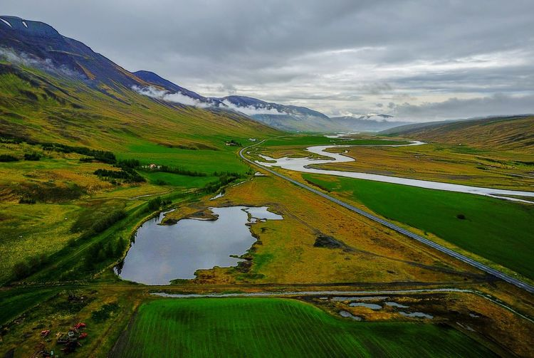 Icelandic landscape Landscape Landscape_Collection Landscapes Travel Traveling EyeEm Nature Lover EyeEm Gallery Nature Naturelovers Nature_collection Nature Photography Dronephotography DJI Mavic Pro Aerial Aerial View Drone  Droneshot Dji Iceland Water Mountain Rural Scene Lake Reflection Road Snow Fog Sky