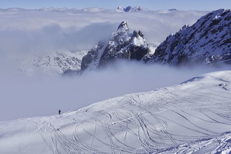 Winter view of thedolomites from the top of marmolada