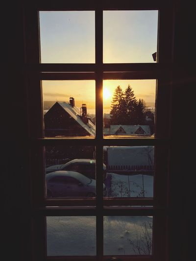 Window Domestic Room Indoors  Home Interior No People Looking Through Window Window Frame Sunset Architecture Snow Day Nature Sky Atmospheric Mood Atmosphere