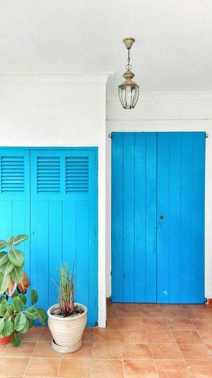 Blue door of villa