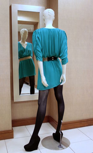 The human doll. Dress Pose Reflection Manakin Doll Photography Dummy Mannequin Fashion Rear View Human Representation Retail  Standing