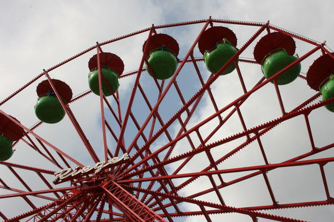 Big fun with big view. Ferris Wheel View Amusement Park Amusement Park Ride Fun Gohigher High Angle View Leisure Activity Red And Green Sky