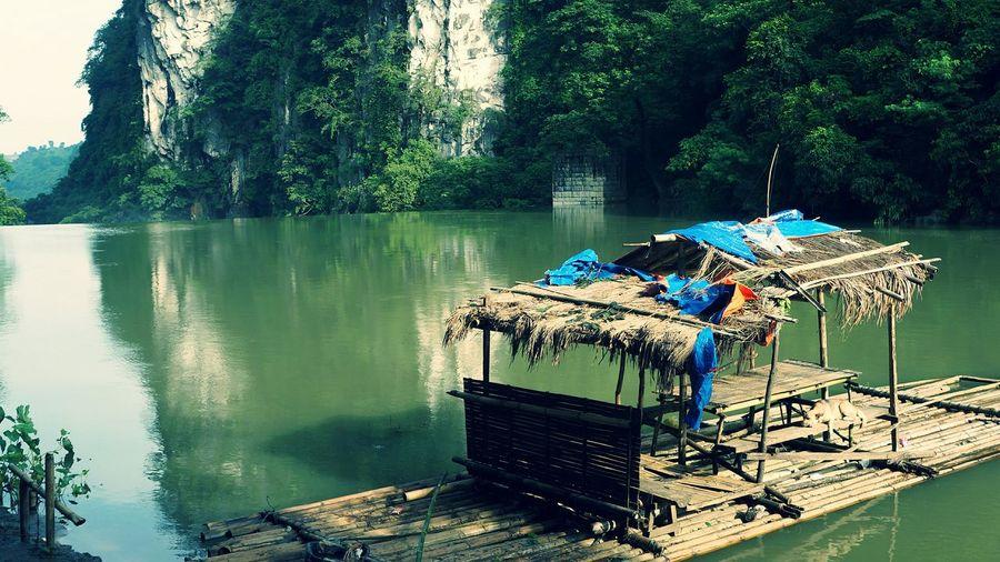 Gazebo on wooden bamboo raft in marikina river