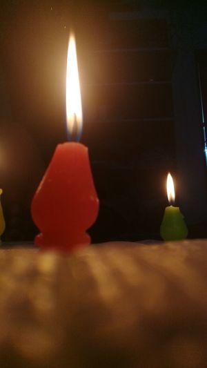 Close-up of lit tea light candle