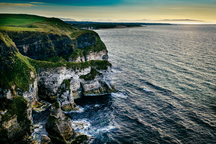 The White Cliffs of the Causeway Coast in Northern Ireland Cliffs County Antrim Ireland Irish Sea Beauty In Nature Cliff Day Horizon Over Water Landscape Nature No People Outdoors Rock - Object Scenics Sea Sky Tranquil Scene Tranquility Water White