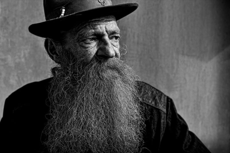 Alertness Animal Head  Beard Black And White Black Color Close-up Day Eyes Feline Focus On Foreground Mammal Monochrome Nature No People Old Men Portrait Urban Lifestyle Urban People Urban Persons Whisker