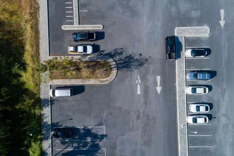 Directly above shot of cars at parking lot